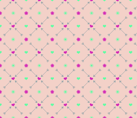 Hearts_Flowers_pink fabric by curlywillowco on Spoonflower - custom fabric