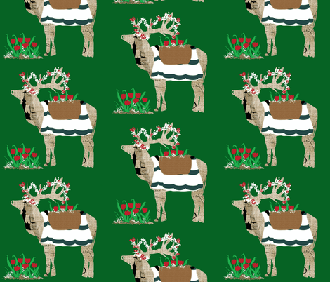 Spring Is Here Reindeer fabric by karenharveycox on Spoonflower - custom fabric