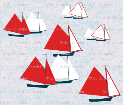 Racing gaff-rigged skiffs