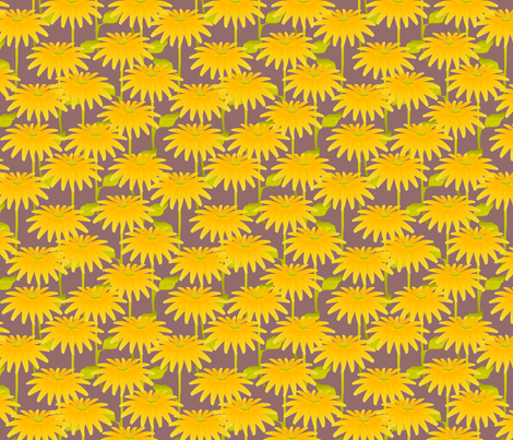 YELLOW FLOWER mauve fabric by glimmericks on Spoonflower - custom fabric