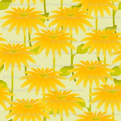 YELLOW FLOWER crystal green
