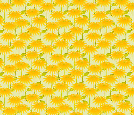 YELLOW FLOWER crystal green fabric by glimmericks on Spoonflower - custom fabric