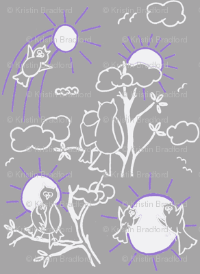You are my sunshine owls in Gray and Lavender