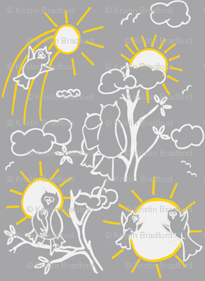 You are my sunshine owls in Gray and Yellow