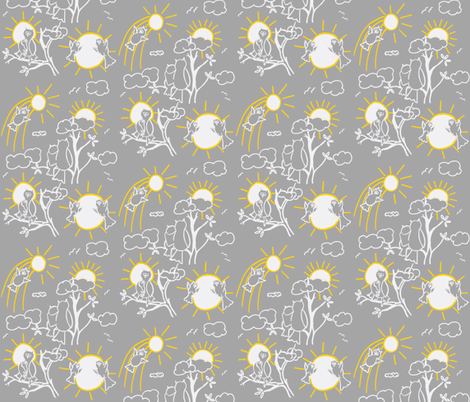 You are my sunshine owls in Gray and Yellow fabric by kbexquisites on Spoonflower - custom fabric