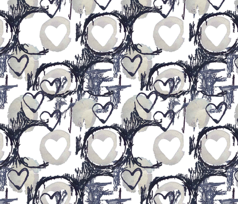 Mark making Hearts fabric by slumbermonkey on Spoonflower - custom fabric