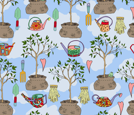 Tree Time! Tools for planting a tree  fabric by joojoostrees on Spoonflower - custom fabric