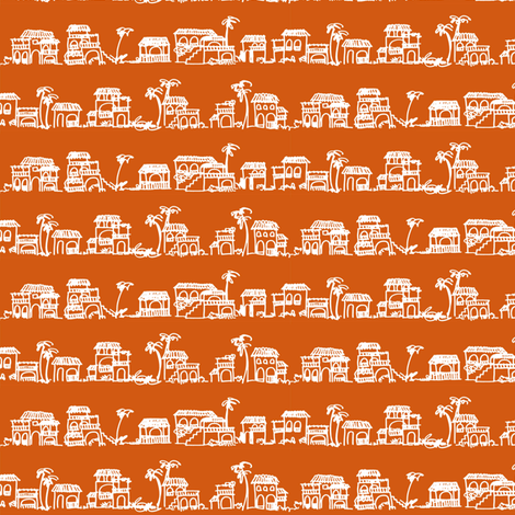 CASITAS - orange fabric by marcador on Spoonflower - custom fabric