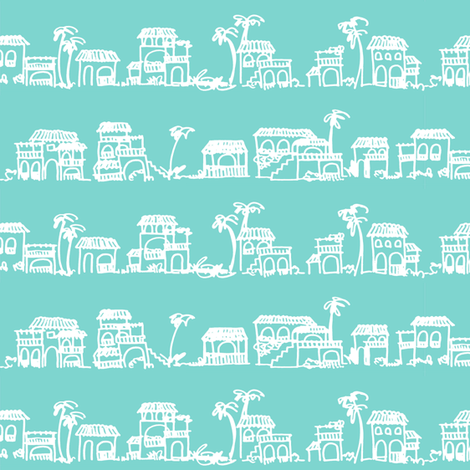 LITTLE BEACH HOUSES  / CASITAS fabric by marcador on Spoonflower - custom fabric