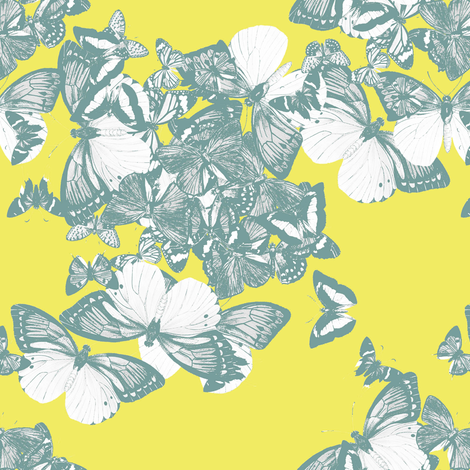 FLUTTER - chartreuse and mist fabric by marcador on Spoonflower - custom fabric