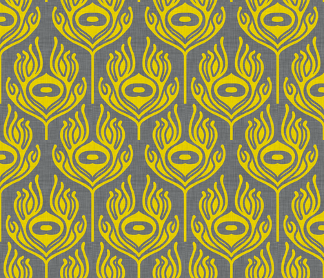 peacock_grey_yellow fabric by holli_zollinger on Spoonflower - custom fabric