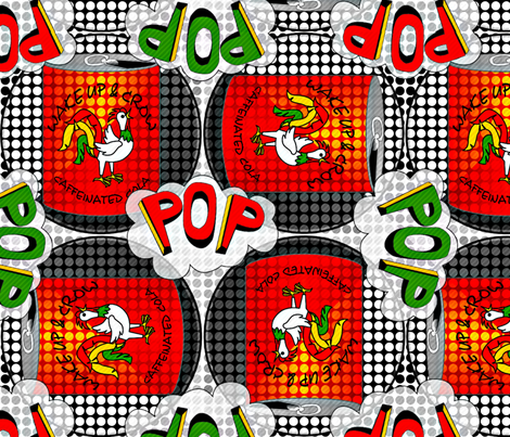 Wake Up and Crow Cola Pop Art Chickens fabric by glimmericks on Spoonflower - custom fabric
