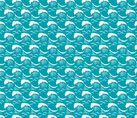 White Caps II - Turquoise fabric by dianne_annelli on Spoonflower - custom fabric