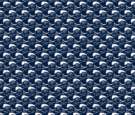 White Caps - Navy Blue fabric by dianne_annelli on Spoonflower - custom fabric