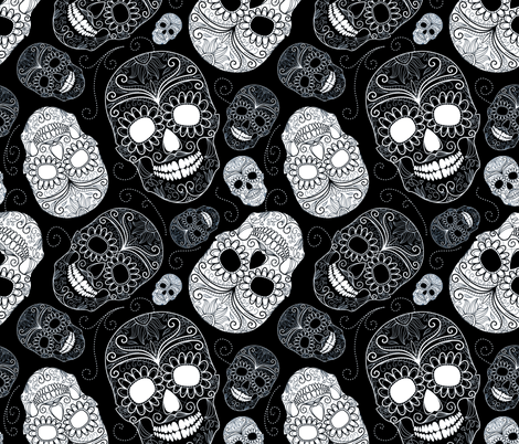Black and White Sugar Skulls