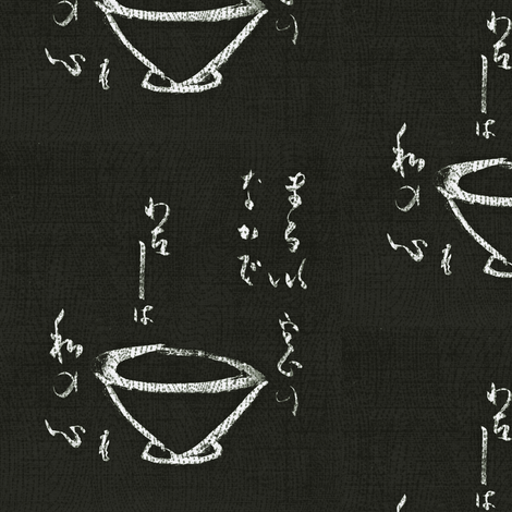 Tea Ceremony- chalkboard black & white-ed-ch fabric by materialsgirl on Spoonflower - custom fabric