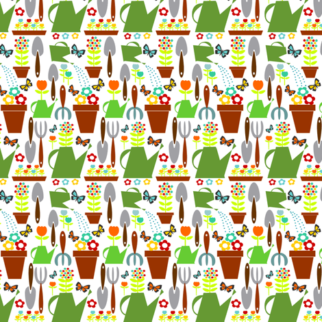 Tools In My Garden II fabric by contemporaryassets on Spoonflower - custom fabric