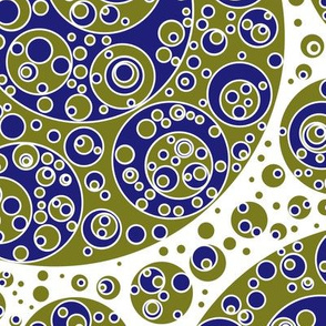 gold blue circles