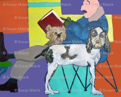 Man Reading with Two Dogs