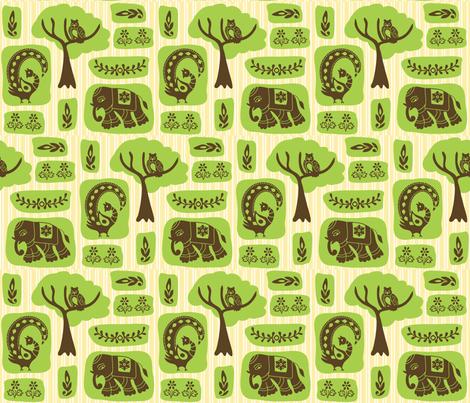 elephants, peacocks, owls fabric by creativerags on Spoonflower - custom fabric
