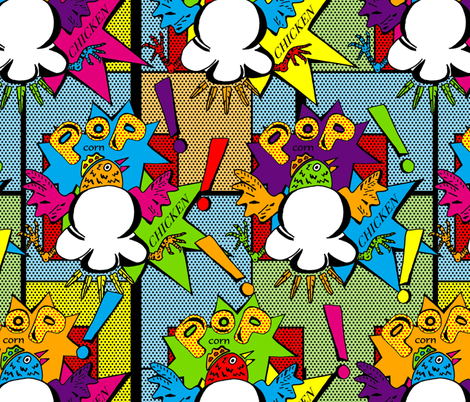 Popping Pop Corn Chicken!  fabric by joojoostrees on Spoonflower - custom fabric