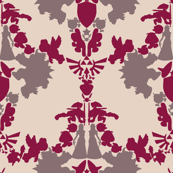 Super Mario & Legend of Zelda Damask - Raspberry
