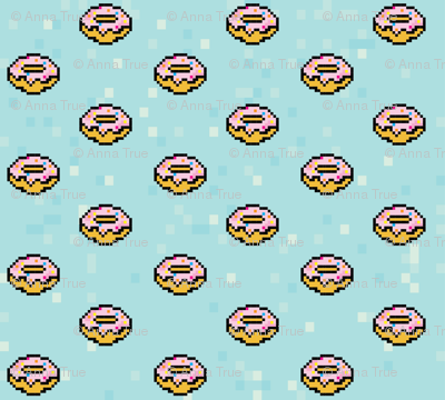 pixel pink frosted donuts