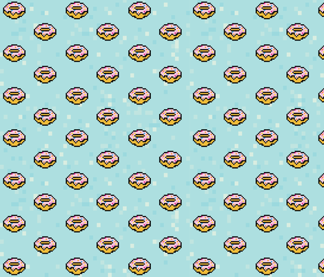 pixel pink frosted donuts fabric by annaboo on Spoonflower - custom fabric
