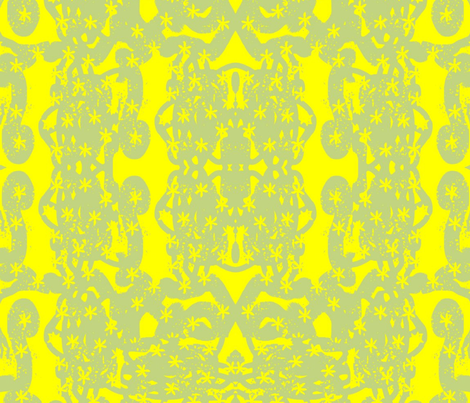 gray block print little daisies-yellow
