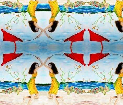 Sabrina's Red Kite lg fabric by bettieblue_designs on Spoonflower - custom fabric