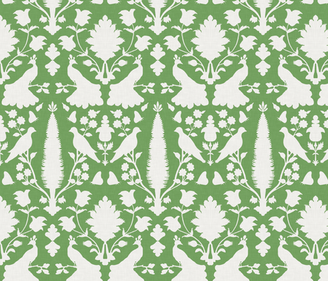 Avignon in Green Summer Lawn fabric by sparrowsong on Spoonflower - custom fabric