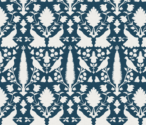 Avignon in Navy fabric by sparrowsong on Spoonflower - custom fabric