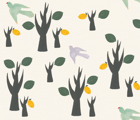 Birds in the forest fabric by frumafar on Spoonflower - custom fabric