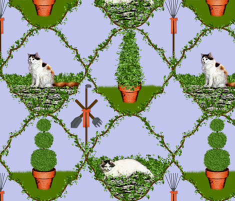 Cat Nip Cat Nap Garden fabric by peacoquettedesigns on Spoonflower - custom fabric