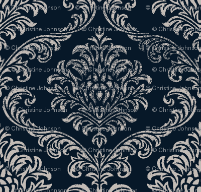 Timeless brocade/ indigo