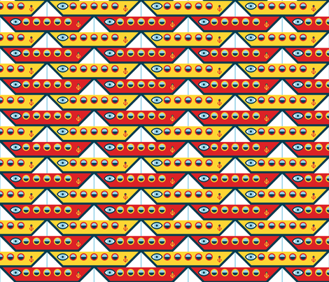 ancient folded paper sailing boat fabric by sef on Spoonflower - custom fabric