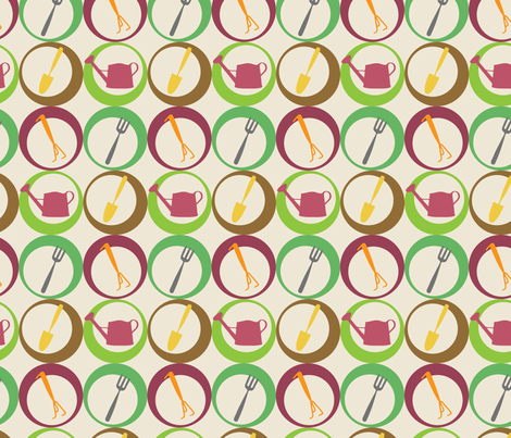 gardening tools fabric by ivoryshades on Spoonflower - custom fabric