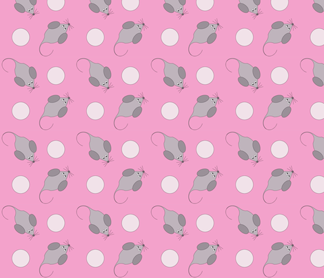 Pink Baby Mousey fabric by megan_mciver on Spoonflower - custom fabric