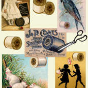 Vintage Thread Sewing Collage