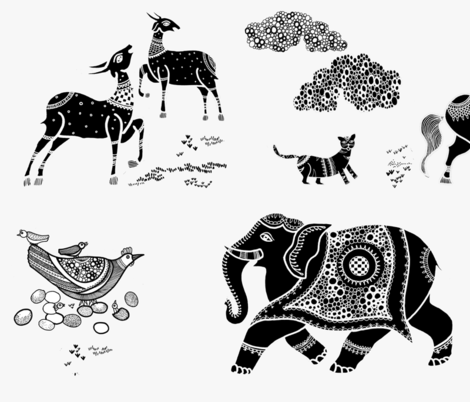 Animal friends black and white fabric by designery on Spoonflower - custom fabric