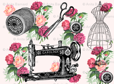 Vintage Sewing and Roses on PInk