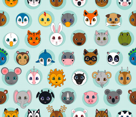 Baby Animals DOTS fabric by juliesfabrics on Spoonflower - custom fabric