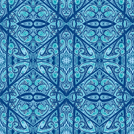 Casual Hearts in a Wood Block Blue Print World fabric by edsel2084 on Spoonflower - custom fabric