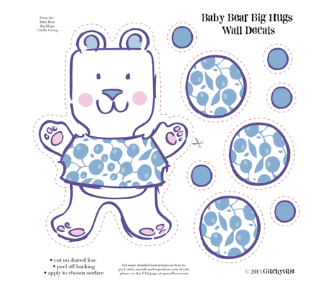Baby Bears Big Hugs BOY Wall Decals fabric by gitchyville_stitches on Spoonflower - custom fabric