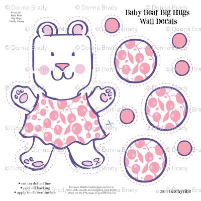 Baby Bears Big Hugs GIRL Wall Decals