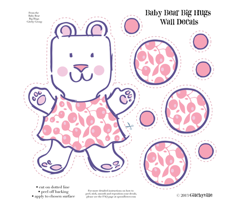 Baby Bears Big Hugs GIRL Wall Decals fabric by gitchyville_stitches on Spoonflower - custom fabric