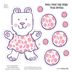 Baby Bears Big Hugs GIRL Wall Decals