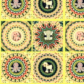 Kaleidoscope Baby Animal Quilt in Yellow