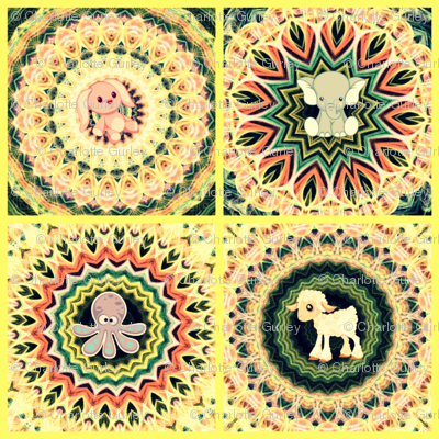Kaleidoscope Baby Animal Quilt in Yellow
