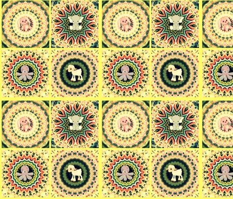 Kaleidoscope Baby Animal Quilt in Yellow fabric by charldia on Spoonflower - custom fabric